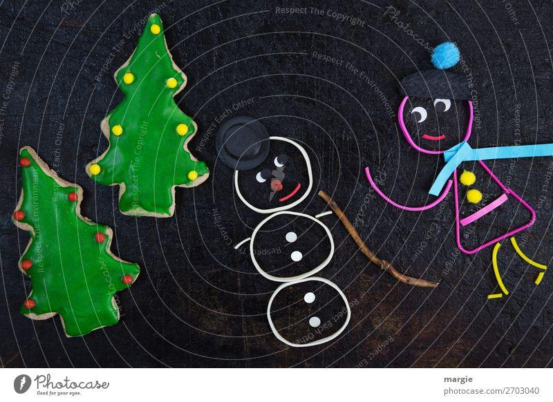 Gummiwürmer: Du bleibst hier.. ein Mädchen mit einem Schneemann Mensch feminin Kind Frau Erwachsene 1 Baum Hut Mütze grün schwarz weiß Schal Winter