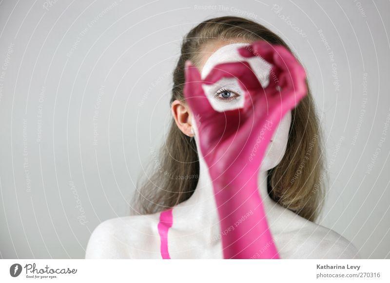 Durchblick Lifestyle Design schön Körperpflege Haare & Frisuren Schminke Mensch feminin Frau Erwachsene Haut Auge Arme Hand 1 18-30 Jahre Jugendliche Handschuhe