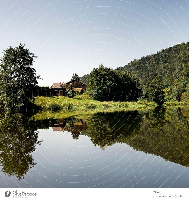 hüttn Ferien & Urlaub & Reisen Sommer Natur Landschaft Wasser Wolkenloser Himmel Baum Sträucher See Fluss Hütte Erholung ästhetisch ruhig Abenteuer