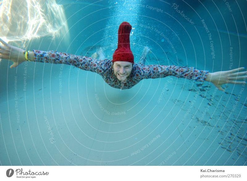 Fly under Water Mensch Jugendliche Freude Erwachsene Leben Freiheit Glück lachen lustig Schwimmen & Baden Freizeit & Hobby außergewöhnlich maskulin Junger Mann