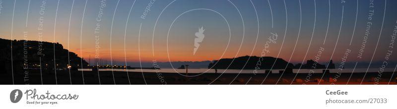 Sonnenaufgang Spanien Meer Küste Morgen Dämmerung rot gelb Panorama (Aussicht) Strand Estartit Insel Wasser Bucht Hafen Morgendämmerung blau Sand Isles Medes