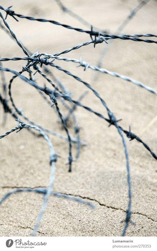 zumachen Strand Sand Metall Aggression dünn rund Spitze Trennung Verbote Stacheldraht Stacheldrahtzaun gekrümmt durcheinander Knoten Zaun Sperrzone gesperrt
