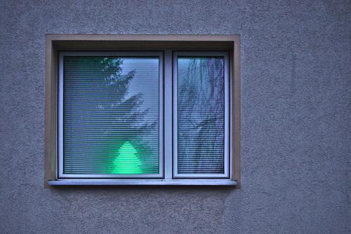 minimalistische Weihnachten Mauer Wand Fassade Fenster hell Tanne Lampe Reflexion & Spiegelung leuchten Weihnachten & Advent grün Rollo Gedeckte Farben