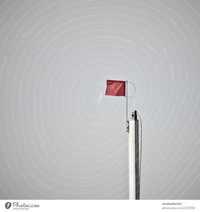Hiddensee | Rote Karte rot Farbe Wetter Wind Spitze einfach Fahne Verbote Wolkenloser Himmel Fahnenmast Vor hellem Hintergrund