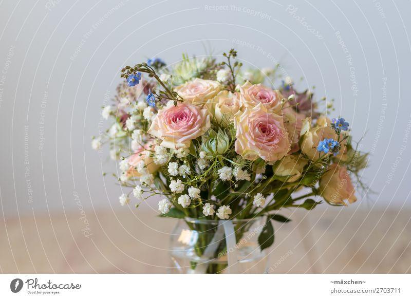 Brautstrauß II Pflanze Blume Gras Sträucher Blatt Blüte Blumenstrauß Duft schön natürlich blau mehrfarbig gelb grün orange rosa weiß Hochzeit Vase Tisch