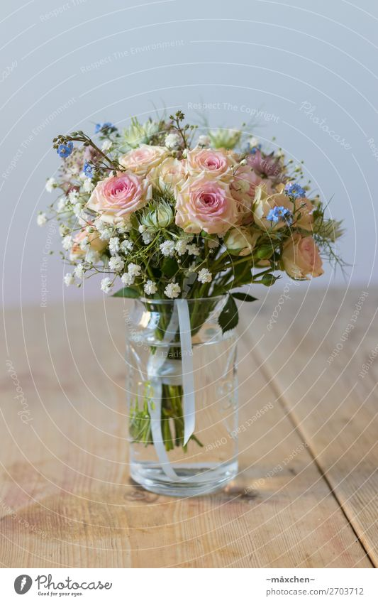 Brautstrauß III Pflanze blau schön grün weiß Blume Blatt gelb Blüte natürlich Gras orange rosa Glas Sträucher Hochzeit