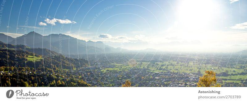 das weite Tal Umwelt Natur Landschaft Pflanze Luft Himmel Wolken Horizont Sonne Sonnenlicht Sommer Wetter Schönes Wetter Baum Wiese Wald Hügel Alpen