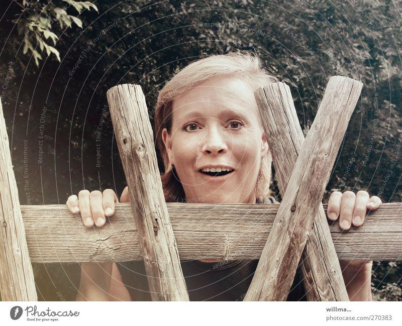 neugierige frau schaut überrascht über den gartenzaun Frau Erwachsene Kopf 1 Mensch Kommunizieren Lächeln Blick Neugier Freude Fröhlichkeit Überraschung staunen