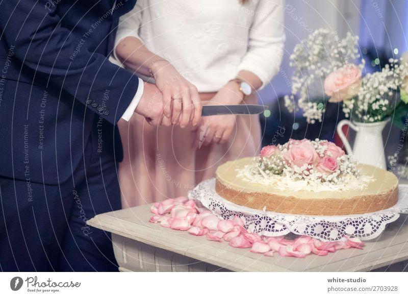 Hochzeitstorte Paar Zusammensein Liebe Kuchen Hochzeitspaar Hochzeitstag (Jahrestag) Hochzeitszeremonie anschneiden Ehe Hochzeitsfeier Hochzeitskuchen Farbfoto