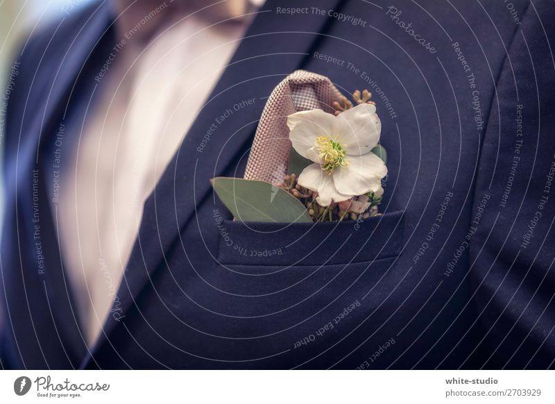 Bräutigam Mann Erwachsene Zusammensein Ehemann Anzug schick Hochzeit Blume Farbfoto
