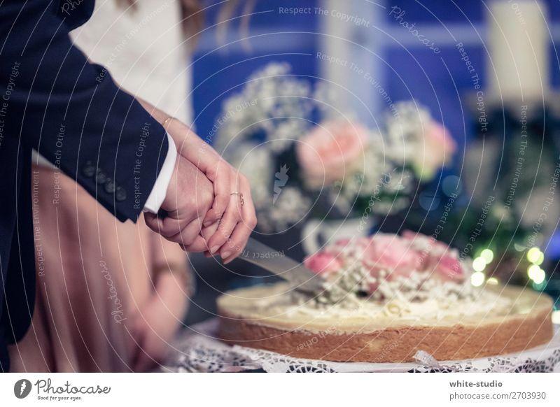 Zeit für Hochzeitstorte Paar Partner Liebe schneiden Anschnitt Kuchen Messer Torte Hochzeitsfeier Hochzeitspaar Hochzeitszeremonie Ehepaar Zusammensein Hand