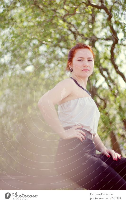 Rückzugspunkt. Mensch Frau Natur Jugendliche schön Baum Blatt Erwachsene Wald Umwelt feminin Mauer Junge Frau sitzen Haut hoch