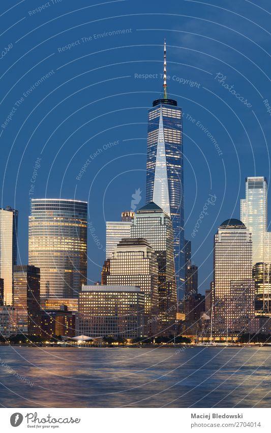 New York City Skyline bei Sonnenuntergang, USA Ferien & Urlaub & Reisen Tourismus Sightseeing Städtereise Arbeitsplatz Büro Himmel Fluss Stadt Hafenstadt