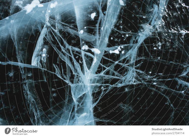 Unheimlich gefrorenes Wasser Meer Winter Schnee Natur Baum Gletscher See Fluss Kristalle Ornament Linie frieren dunkel natürlich schwarz weiß Angst