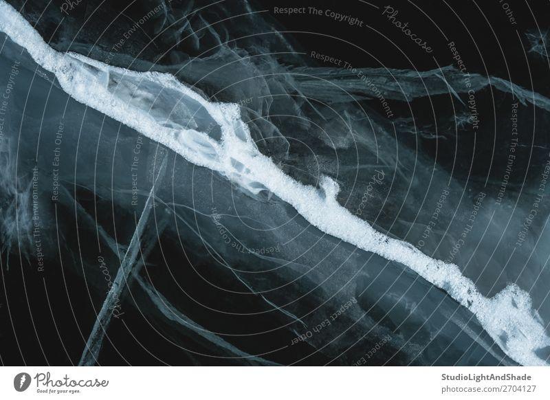 Natur weiß Meer Winter schwarz natürlich Schnee See Linie Angst Fluss Jahreszeiten Frost gefroren tief Riss