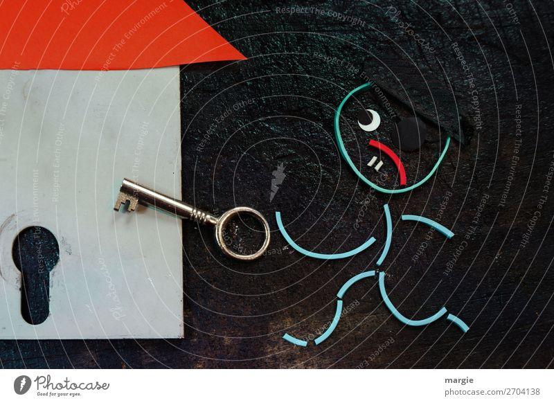 Gummiwürmer: Nachts, wenn alles schläft...Der Einbrecher kommt! Mensch maskulin Mann Erwachsene 1 rot schwarz Collage Dieb Diebstahl Haus Tür Schlüssel Schloss