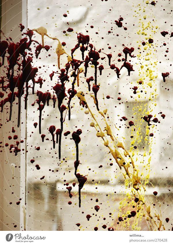rebellion Renovieren Umzug (Wohnungswechsel) Anstreicher Subkultur Fenster Dach Fensterscheibe Dachfenster Glas gelb grau Aggression Stadt Irritation