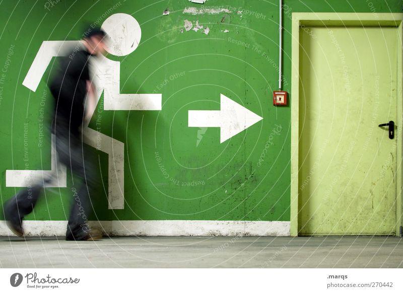 1400 | A Tribute to kalle Mauer Wand Tür Feuermelder Piktogramm Zeichen Pfeil Bewegung rennen außergewöhnlich Geschwindigkeit grün Notausgang flüchten Panik