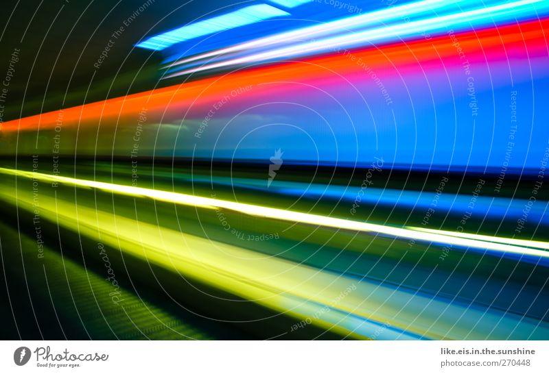 swoooosh Menschenleer Verkehrsmittel Flughafen Rolltreppe leuchten Geschwindigkeit Streifen rot gelb blau Hintergrundbild neonfarbig Neonband neonblau Neonlampe
