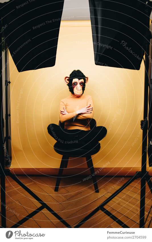 Woman with monkey mask sitting in photo studio feminin Frau Erwachsene 1 Mensch 18-30 Jahre Jugendliche 30-45 Jahre Freude Menschlichkeit verkleidet Evolution