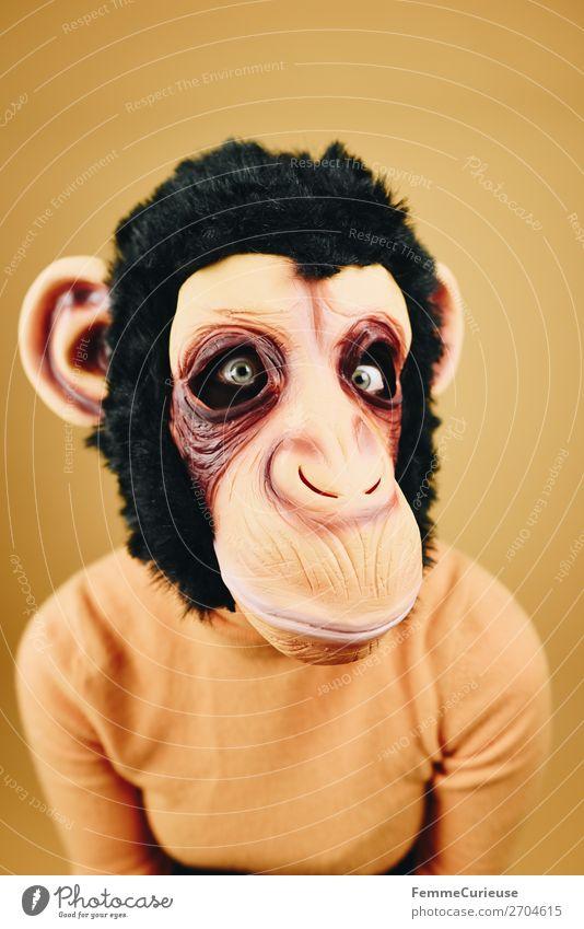 Woman with monkey mask starring into the camera feminin Frau Erwachsene 1 Mensch 18-30 Jahre Jugendliche 30-45 Jahre Freude Affen Schimpansen Latex Maske