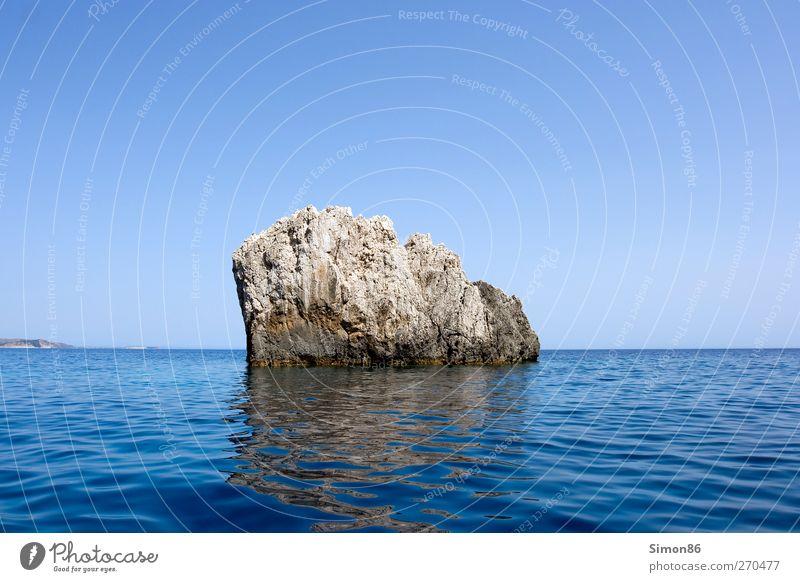 Fels in der Brandung Himmel Natur blau alt Wasser Sommer Meer Umwelt Landschaft Küste Stein Erde Horizont Wellen Felsen Zufriedenheit