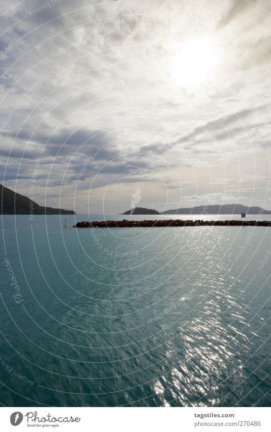 PRASLIN Natur Wasser Ferien & Urlaub & Reisen Sonne Sommer Meer Wolken Wellen Reisefotografie Insel Idylle Hafen Afrika Paradies Wasseroberfläche Seychellen