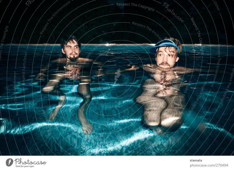 poolparty Mensch Mann Wasser Erwachsene Leben Kopf Paar Freundschaft Schwimmen & Baden Zusammensein maskulin Schwimmbad Wellness trashig Partner trendy