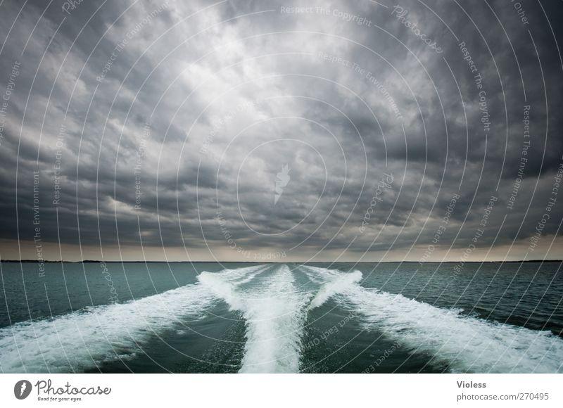 Hiddensee | on the way...... Wolken Schifffahrt Bootsfahrt Geschwindigkeit Gischt Speed Farbfoto Außenaufnahme Menschenleer Tag Weitwinkel