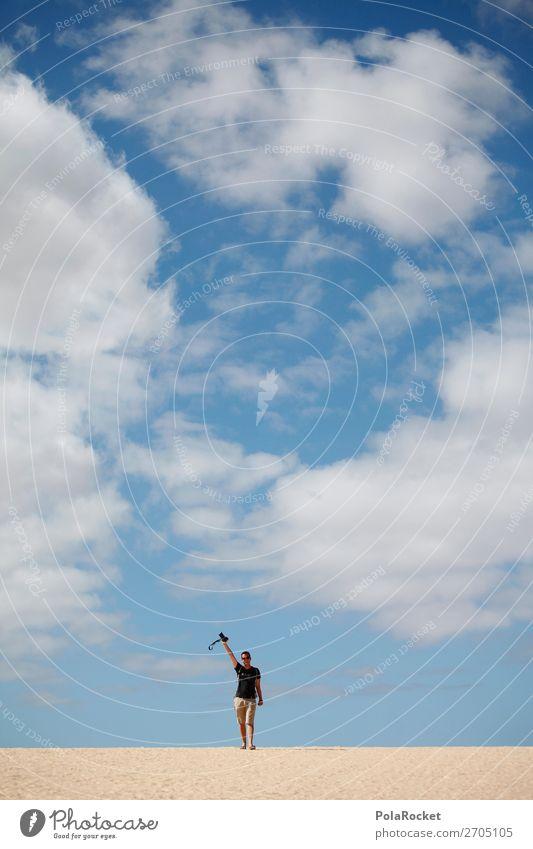#AS# Ein Hoch auf die Kamera Mensch maskulin Glück Wüste Strand Himmel Fotokamera Gerät Freude Fotografie Sieg wandern Begeisterung Wolken Momentaufnahme Sonne