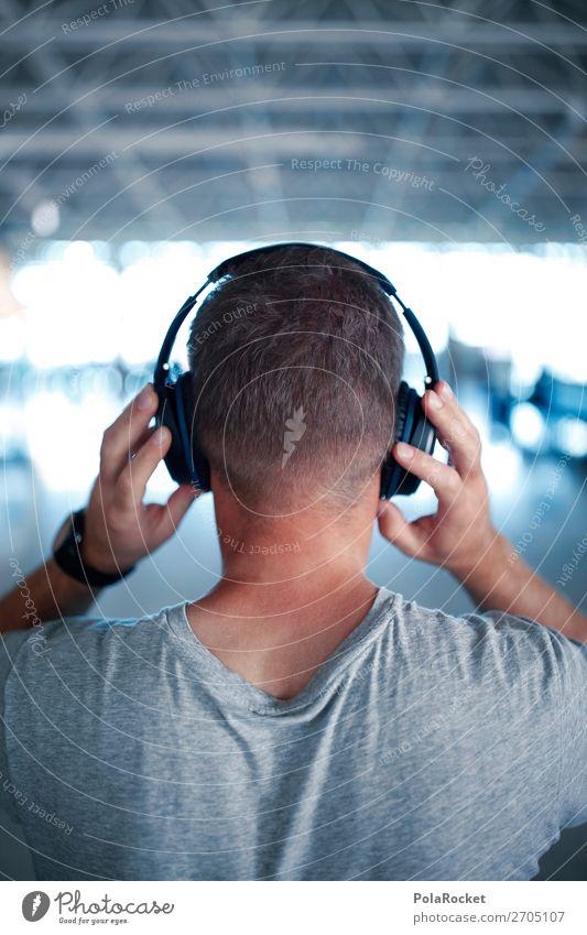 #AS# SOUND maskulin 1 Mensch ästhetisch Klang Kopfhörer Musik Musik hören Erholung soundcheck Hörbuch Farbfoto Gedeckte Farben Innenaufnahme abstrakt
