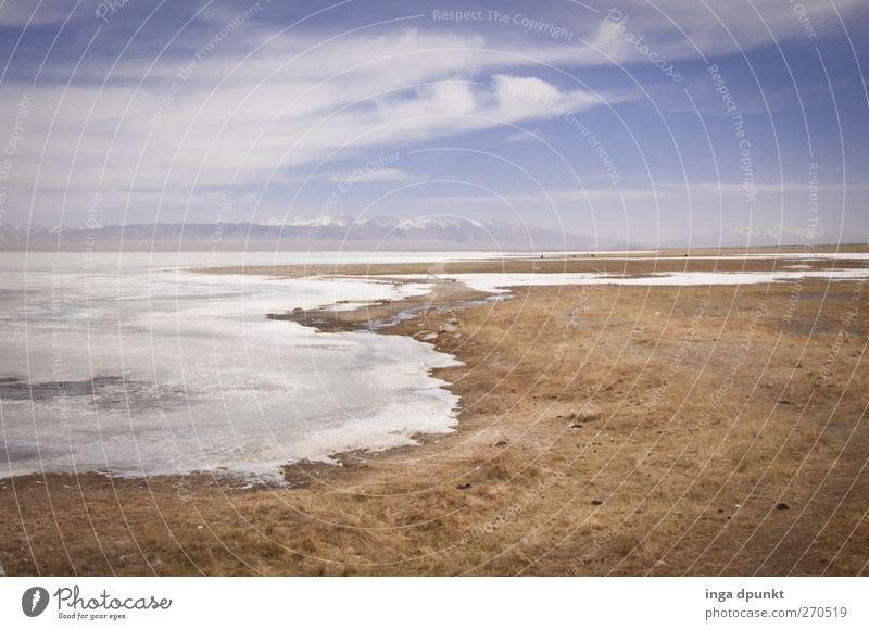 Am Ufer des Eissees Natur Wasser Winter Einsamkeit Ferne Umwelt Landschaft kalt Berge u. Gebirge Sand Erde Klima leer Urelemente Frost
