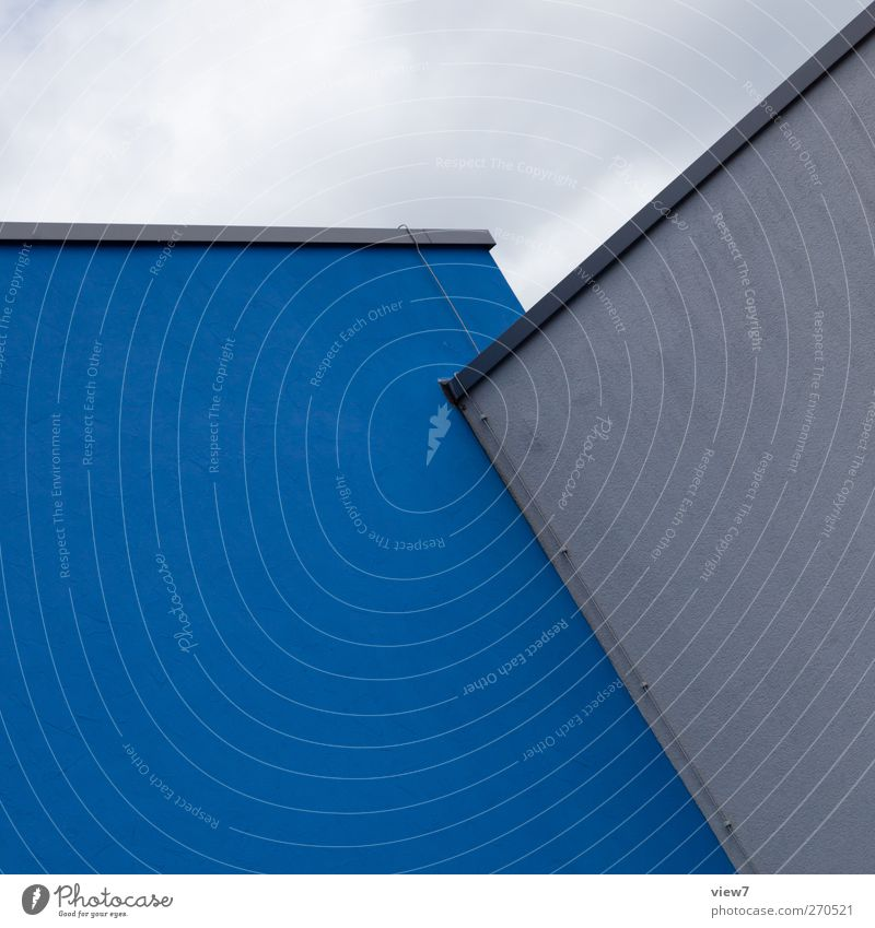 Ecke blau Haus Wand Architektur Stein Mauer Gebäude Linie Fassade Beton Beginn Design frisch modern authentisch Hochhaus