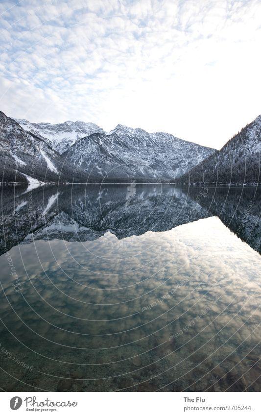 Verkehrte Welt Angeln Umwelt Natur Landschaft Wasser Wolken Sonnenaufgang Sonnenuntergang Sonnenlicht Winter Schönes Wetter Schnee Alpen Berge u. Gebirge Gipfel