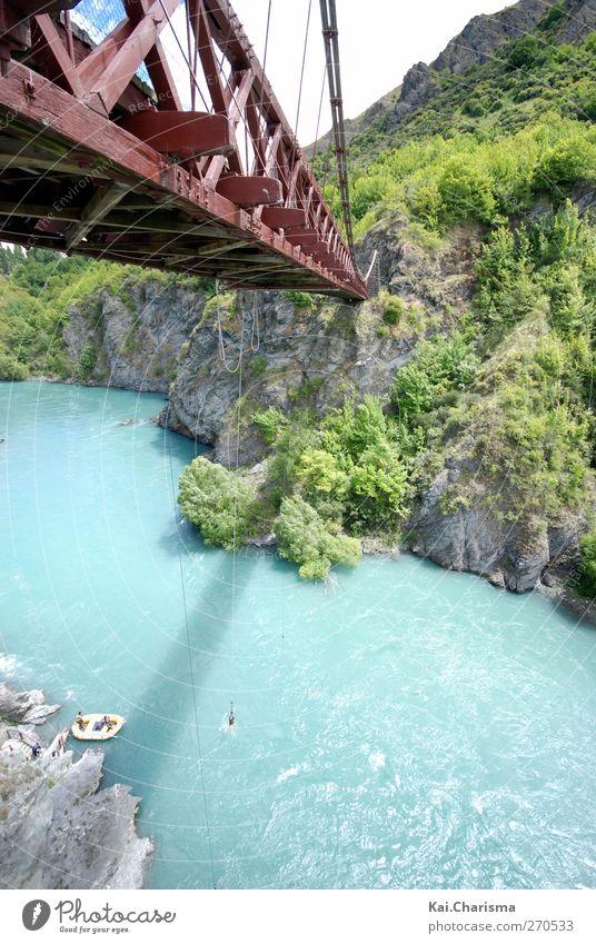 Bungee River Lifestyle Freizeit & Hobby Freiheit Sommer Sport Fluss Brücke springen Farbfoto Außenaufnahme Tag