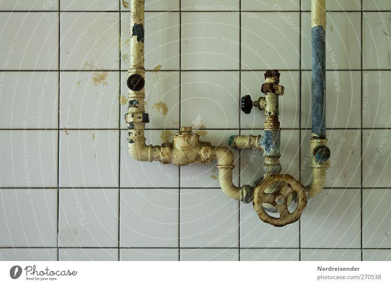 AST5 | Verschlungene Wege blau alt weiß Stadt kalt Wand Architektur Mauer Metall Linie Zeit dreckig Trinkwasser kaputt trist Technik & Technologie