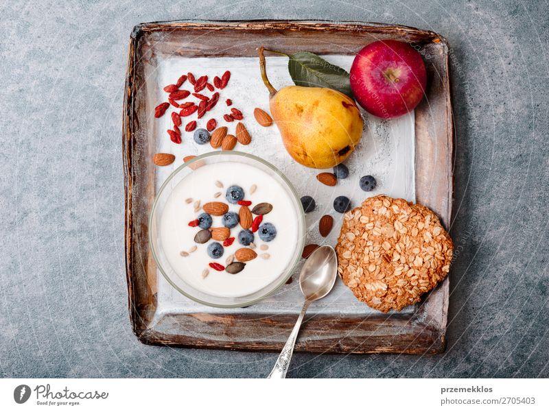 Gesunde Ernährung Gesundheit Lebensmittel Essen Lifestyle natürlich Stein Frucht oben frisch Aussicht Tisch genießen authentisch Beton