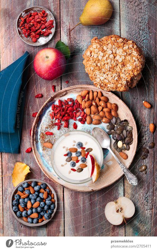 Gesunde Ernährung Lebensmittel Essen Lifestyle Holz natürlich Frucht oben frisch Aussicht Tisch genießen authentisch lecker Dessert
