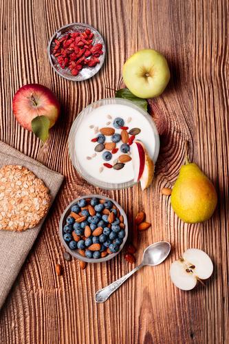 Gesundheit Lebensmittel Essen Lifestyle Holz natürlich Frucht oben Ernährung frisch Aussicht Tisch genießen authentisch lecker Dessert