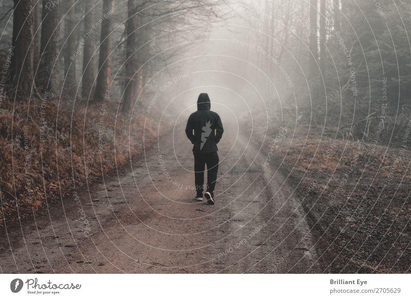 Unklares Ziel Lifestyle Ausflug Winter Mensch maskulin Junger Mann Jugendliche 1 13-18 Jahre Natur Herbst Nebel Wald Bewegung laufen gruselig kalt Stimmung