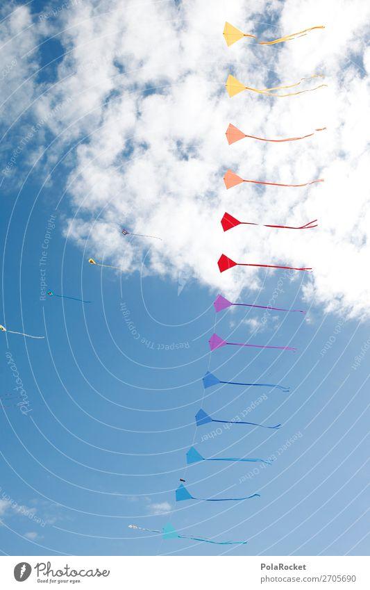 #AS# DrachenBogen Himmel blau Freude Kunst fliegen ästhetisch Veranstaltung Blauer Himmel Festspiele Musikfestival Lenkdrachen Hängegleiter Drachenfliegen