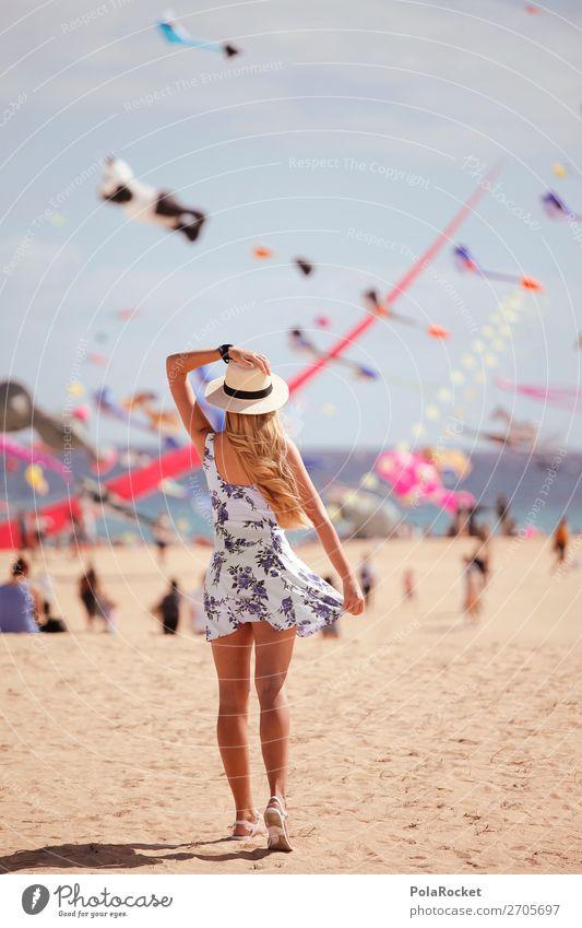 #AS# colourful day Frau Mensch Junge Frau Sommer Erotik Mädchen Strand feminin Küste ästhetisch Abenteuer Wind Kleid Sommerurlaub Hut Veranstaltung