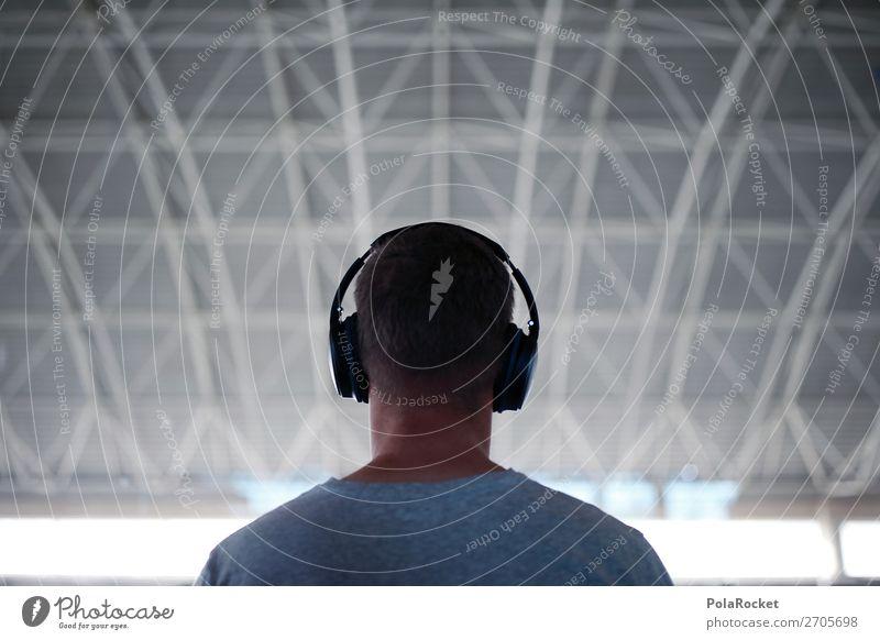 #AS# Klang 1 Mensch ästhetisch Kopfhörer hören Musik Musik hören warten Flughafen Jugendkultur Mann maskulin Farbfoto Gedeckte Farben Innenaufnahme