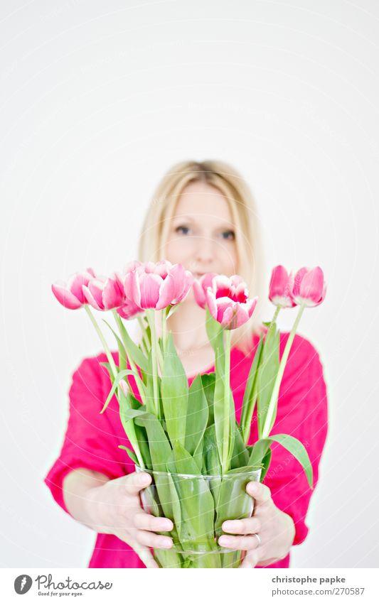 Durch die Blume gesprochen Mensch Jugendliche Pflanze Freude Blatt Erwachsene feminin Blüte Stil Junge Frau blond 18-30 Jahre Dekoration & Verzierung Blühend