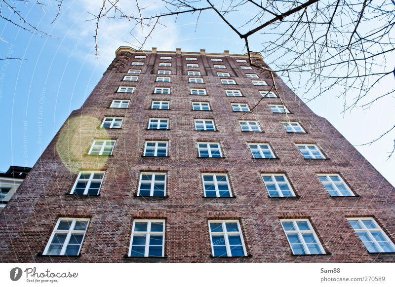Städtisches Hochhaus München Stadt bevölkert Haus Bauwerk Gebäude Architektur Mauer Wand Fassade Fenster alt historisch kalt Außenaufnahme Menschenleer Morgen