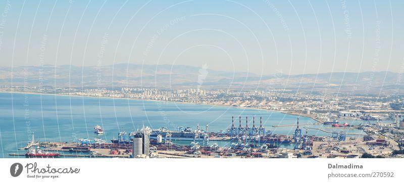 Haifa - Israel Himmel blau Wasser Stadt Meer Haus Horizont Industrie Güterverkehr & Logistik Hügel Hafen Bucht Schifffahrt türkis Wirtschaft Mittelmeer