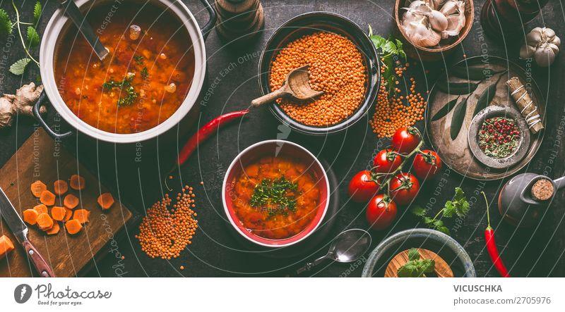 Gesunde vegan Linsen Suppe Gesunde Ernährung Foodfotografie Gesundheit Lebensmittel Essen Stil Design Kräuter & Gewürze Essen zubereiten Bioprodukte Getreide