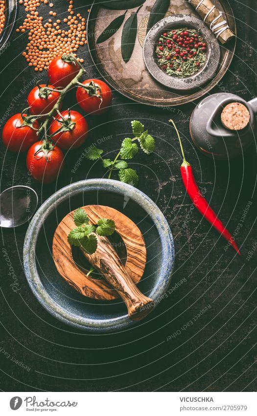 Gesunde vegetarische Zutaten für leckeres Kochen Lebensmittel Kräuter & Gewürze Ernährung Bioprodukte Vegetarische Ernährung Diät Geschirr Stil Design