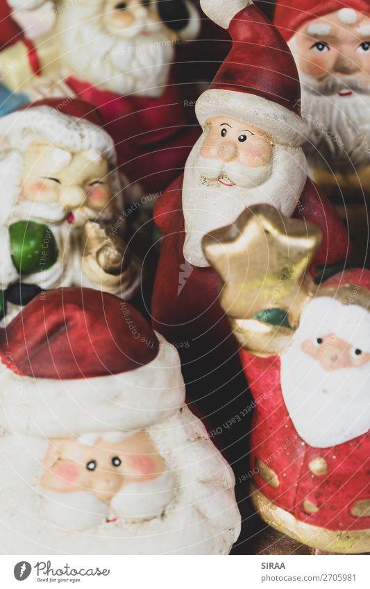 Weihnachtsmänner 2 Feste & Feiern Weihnachten & Advent Mütze Dekoration & Verzierung Kitsch Krimskrams Sammlung Sammlerstück mehrfarbig rot Weihnachtsmann