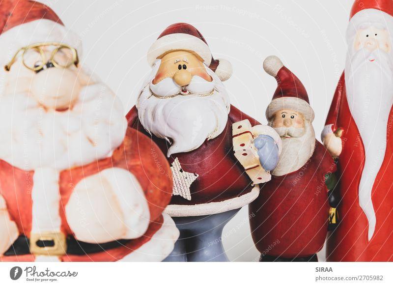 Weihnachtsmänner 1 Feste & Feiern Weihnachten & Advent Mütze Dekoration & Verzierung Kitsch Krimskrams Sammlung Sammlerstück dick mehrfarbig rot Weihnachtsmann